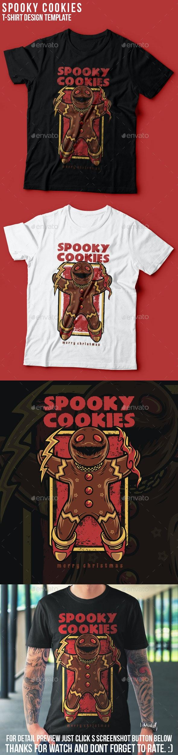 Spooky Cookies Happy Christmas T-Shirt Design - Grunge Designs