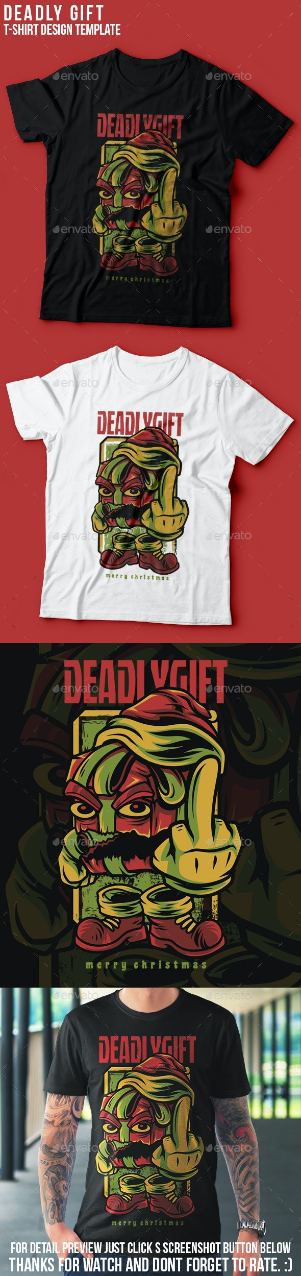 Deadly Gift Happy Christmas T-Shirt Design - Events T-Shirts