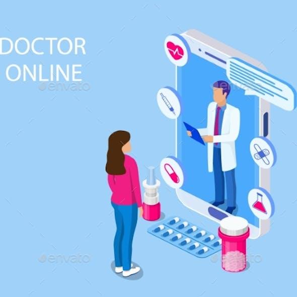 Online Medicine Healthcare Isometric