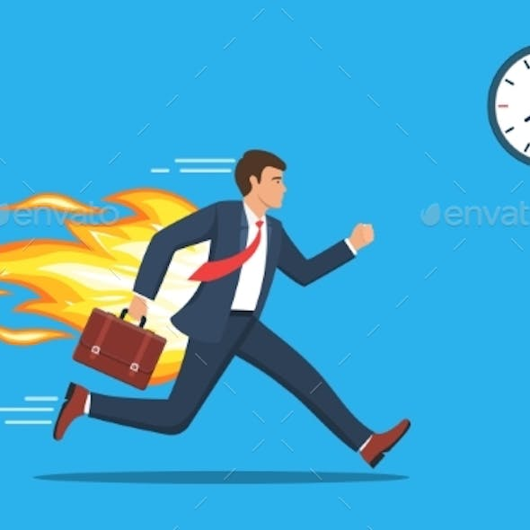 Office Worker Character Running with Back on Fire.