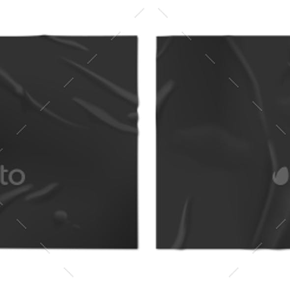 Black Wet Paper. Glued Posters, Old Adhesive