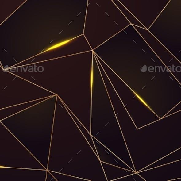 Gold Line Mosaic Background. Golden Lines on Black