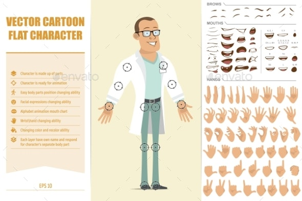 Cartoon Flat Strong Doctor Man Character Set - People Characters