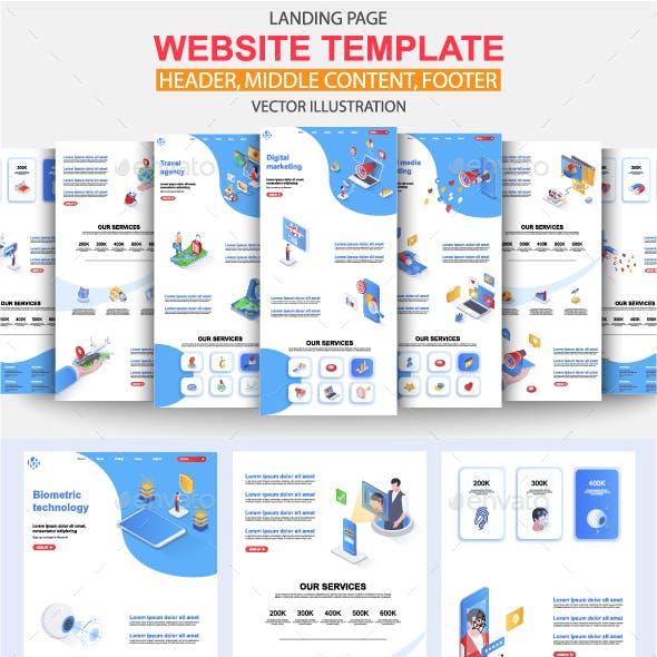 Isometric Landing Page Template Kit