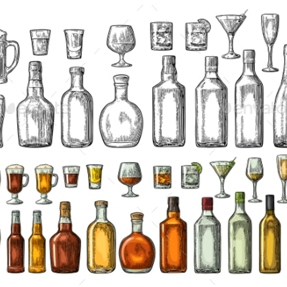 Set of Glasses and Bottles