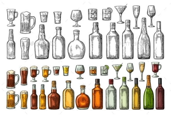 Set of Glasses and Bottles - Food Objects