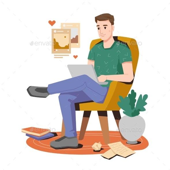 Blogger, Writer or Freelancer Sitting with Laptop