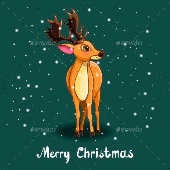 Christmas Greeting Card with Deer and Snow - Christmas Seasons/Holidays