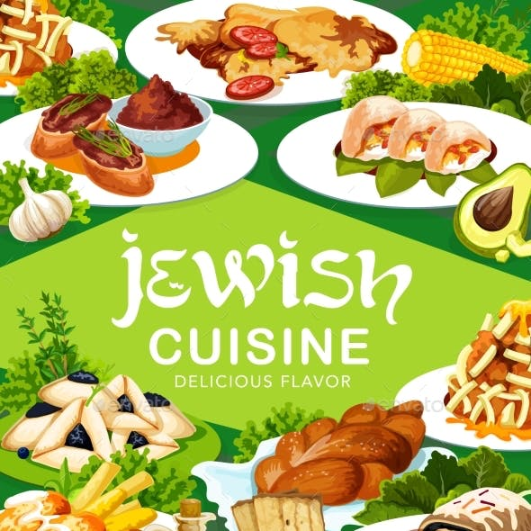 Jewish Cuisine Traditional Meals Vector Banner