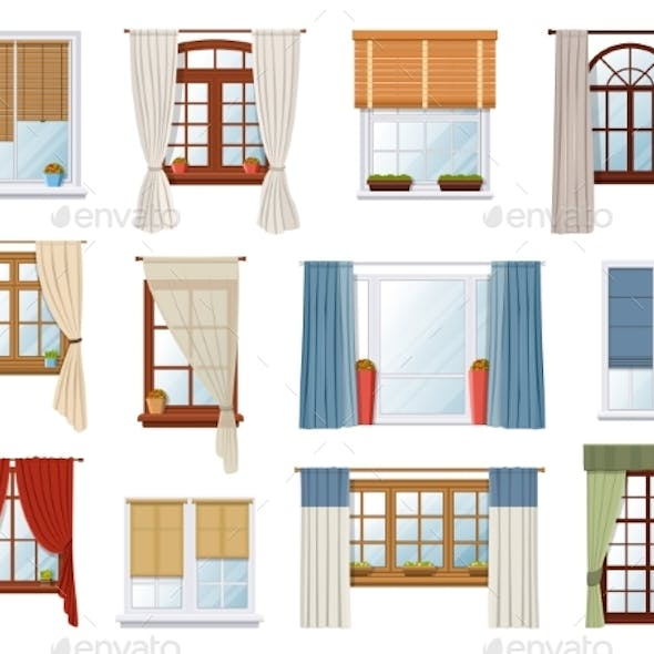 Windows with Curtains and Jalousie Vector Interior