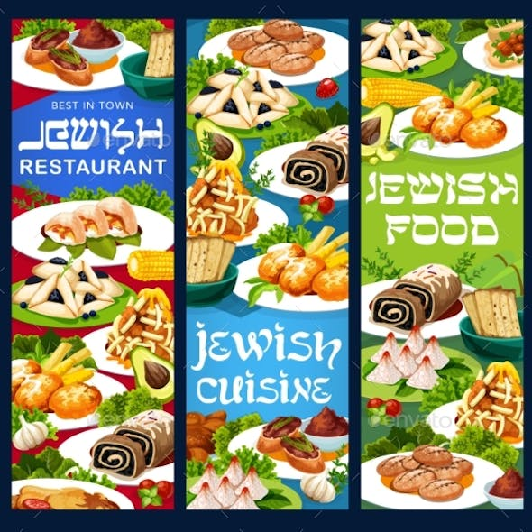 Jewish Cuisine Dishes Vector Vertical Banners