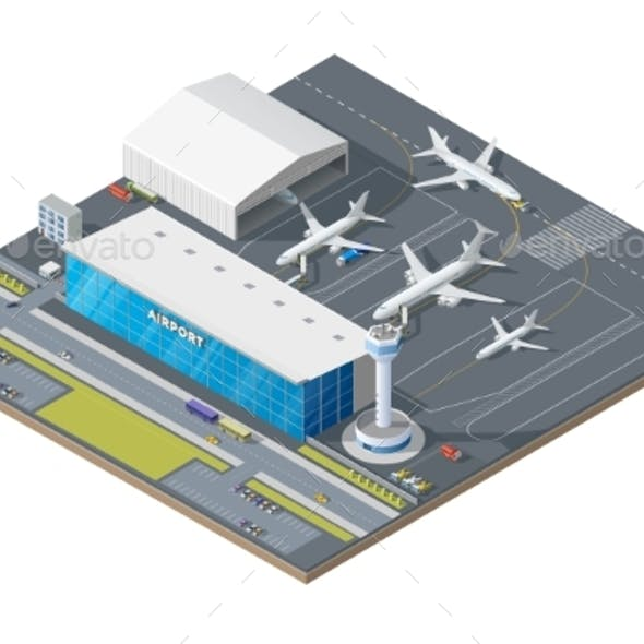 Isometric Airport Building with Airplane on Runway