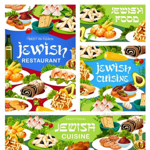 Jewish Restaurant Vector Banners with Meals