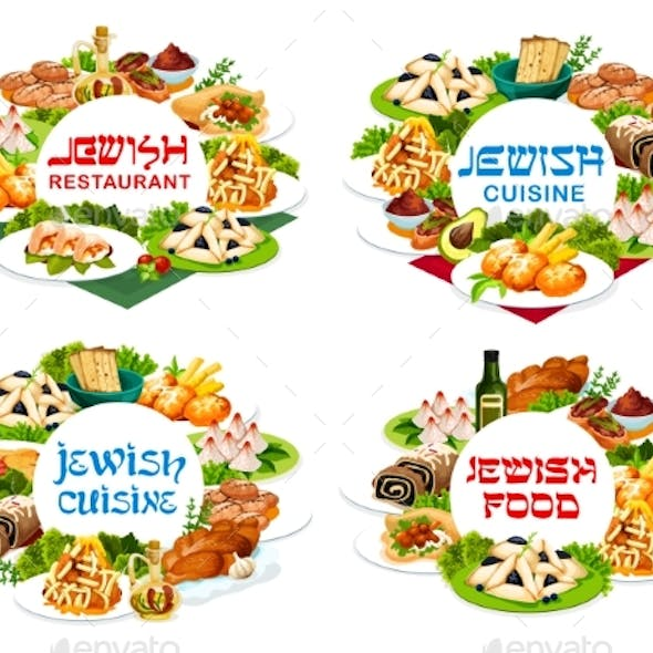 Jewish Cuisine Food Vector Round Banners