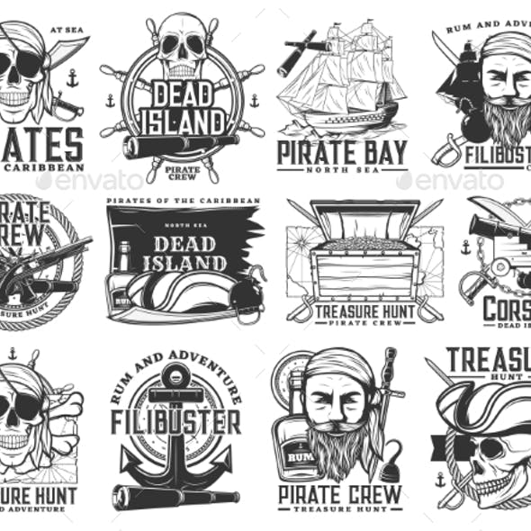 Pirate Icons, Jolly Roger Skulls Piracy Symbols