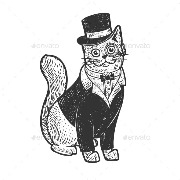Cat in Tuxedo Top Hat and Glasses Sketch Vector