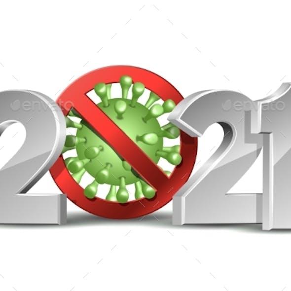 Happy New Year 2021 Number with Coronavirus COVID