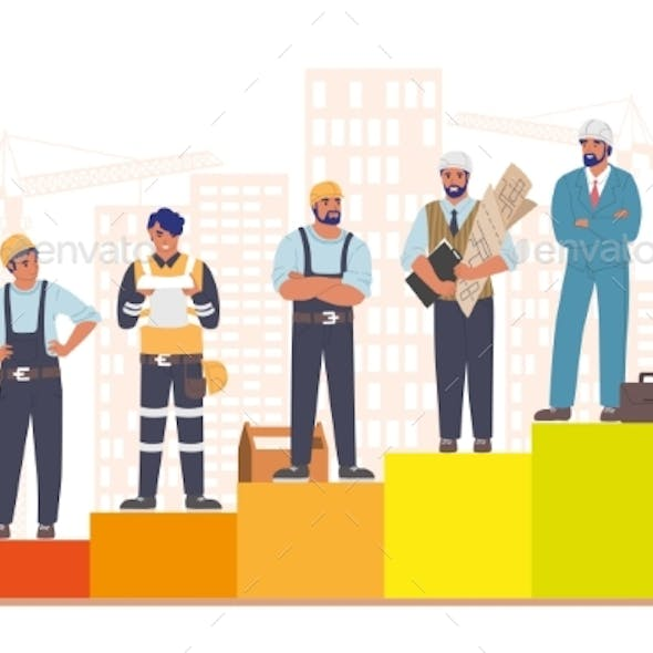 Construction Workers Standing on Raising Bar Graph