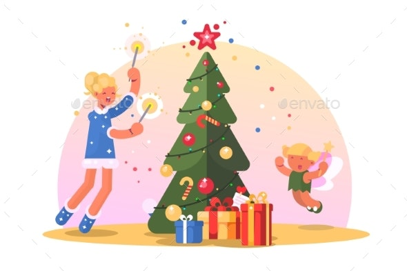 Family with Christmas Tree - People Characters