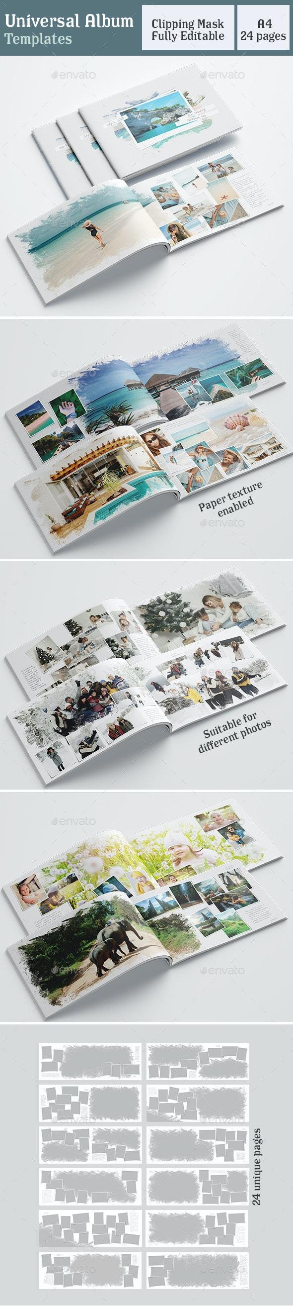 Universal Photobook Template A4 White - Photo Albums Print Templates