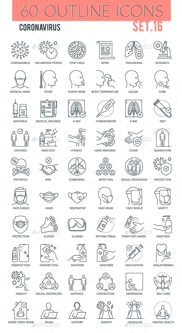 Coronavirus Outline Icons - Miscellaneous Icons