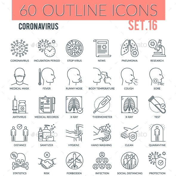 Coronavirus Outline Icons