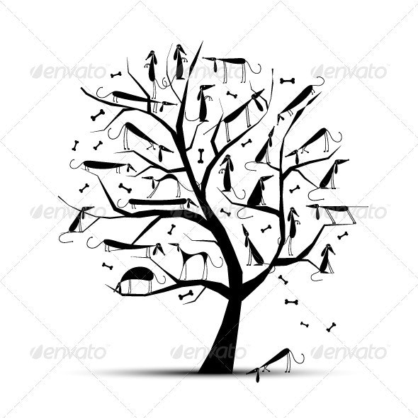 Funny Tree With Dogs On Branches - Animals Characters