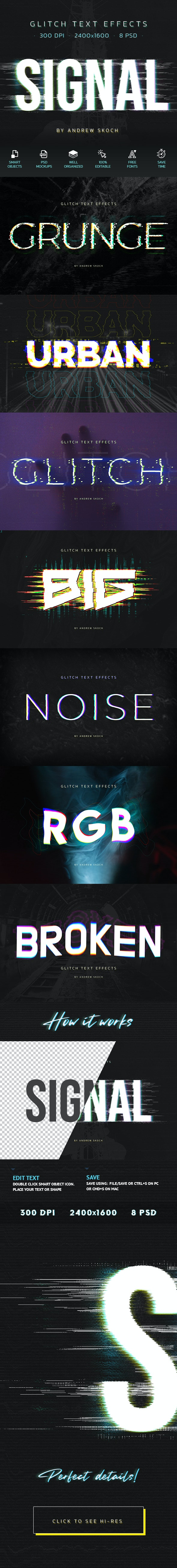 8款潮流故障毛刺效果海报标题Logo字体设计PS样式模板 Glitch Text Effects插图