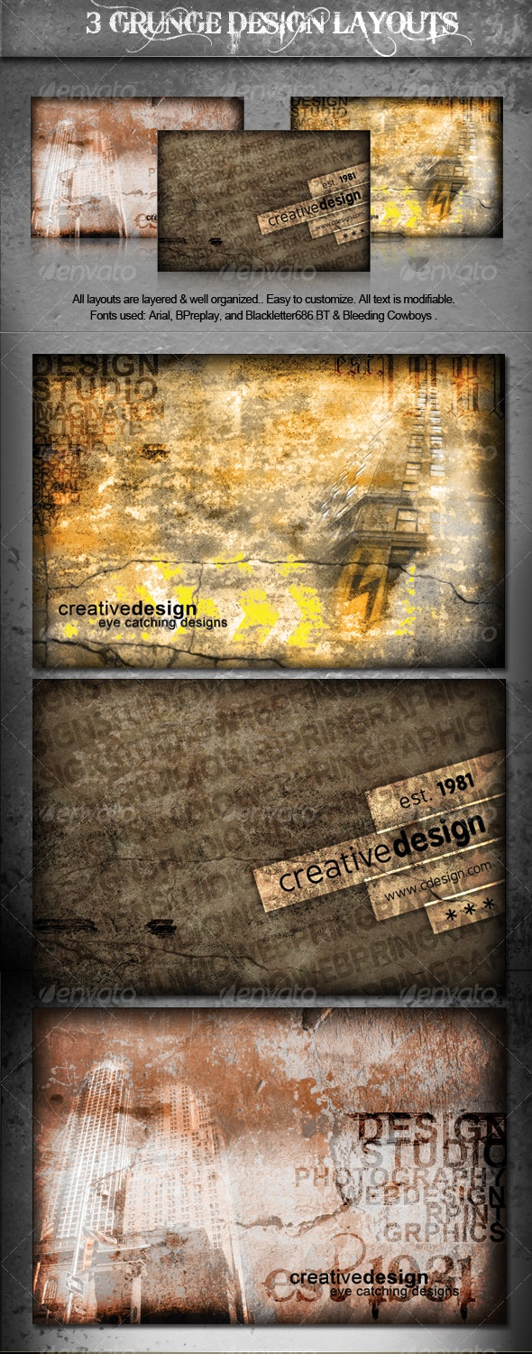 3 Detailed Grunge Backgrounds and Layouts - Backgrounds Graphics