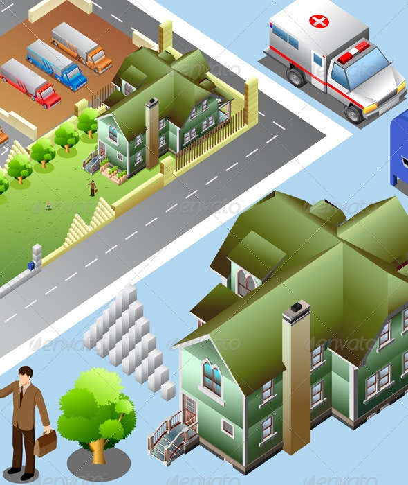 Isometric of Detailed City map - Buildings Objects