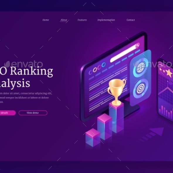 Vector Landing Page of SEO Ranking Analysis