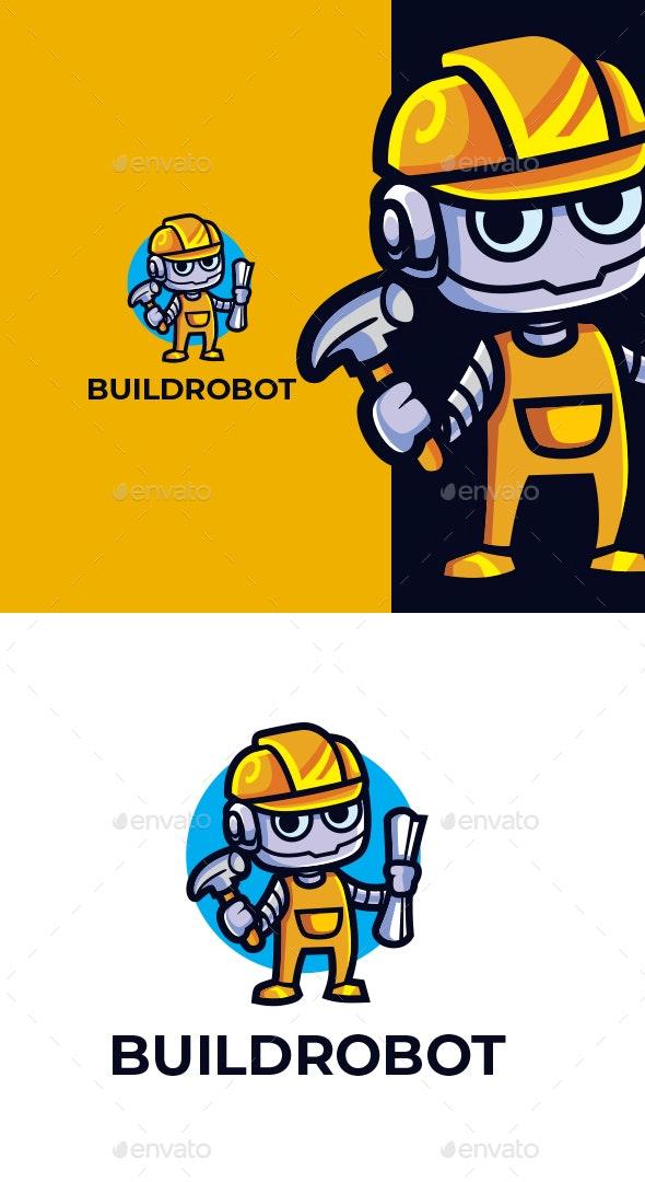 Cartoon Builder Robot Character Mascot Design - Objects Logo Templates