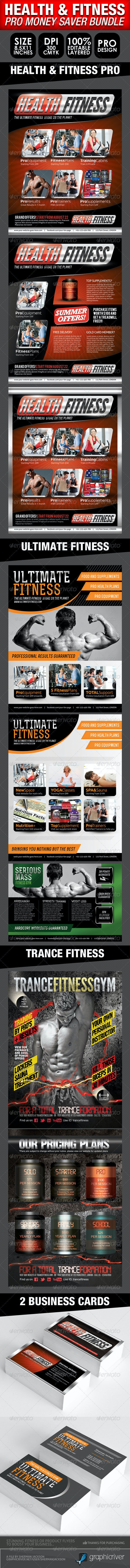 Health, Sports, Fitness Flyer Bundle  - Commerce Flyers