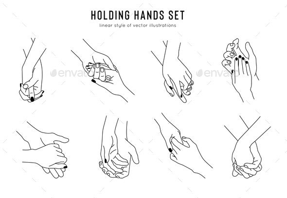Friendship and Lovers Hand Gestures in Linear - Miscellaneous Vectors