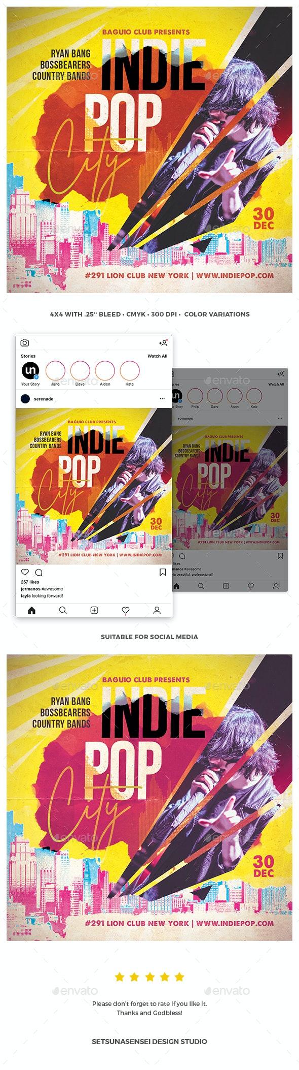 Indie Pop City Flyer - Concerts Events