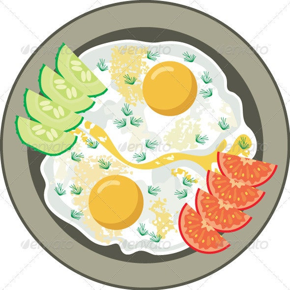 Fried eggs with vegetables - Food Objects