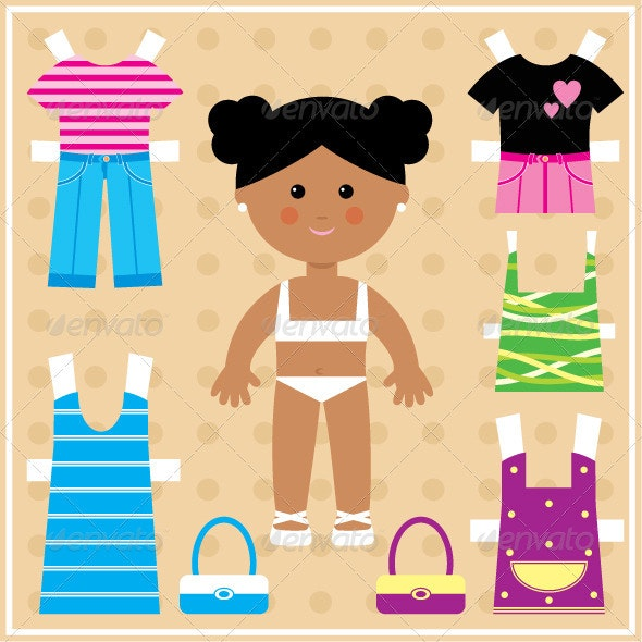 Paper doll with clothes set - Decorative Vectors