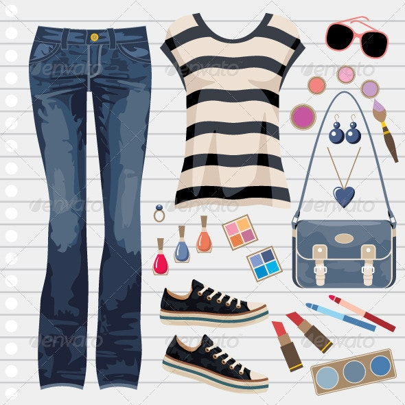 Jeans fashion set - Conceptual Vectors
