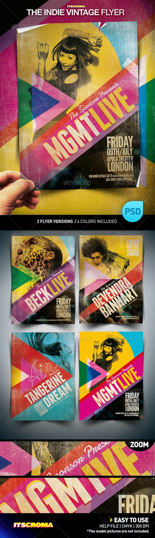 Indie Vintage Flyer / By Croma - Clubs & Parties Events