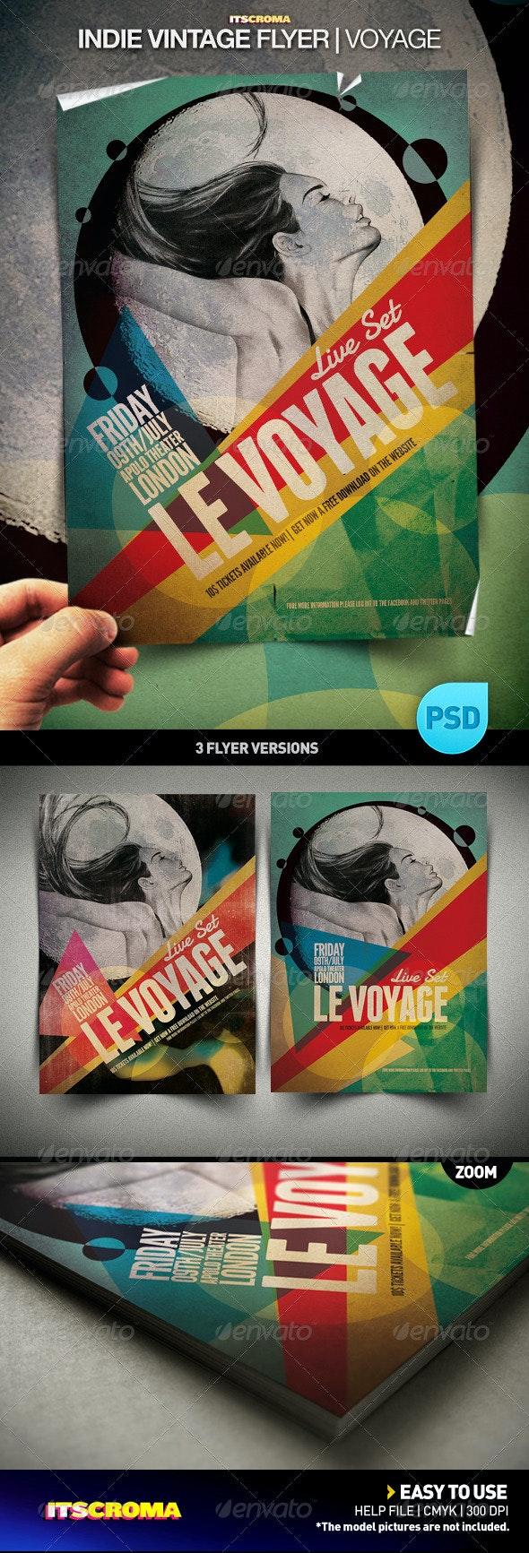 Indie Vintage Flyer 001 | Voyage - Concerts Events