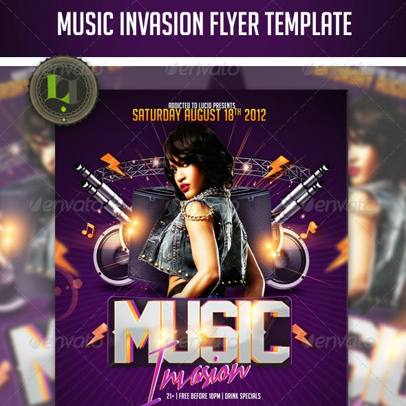 Music Invasion Flyer Template