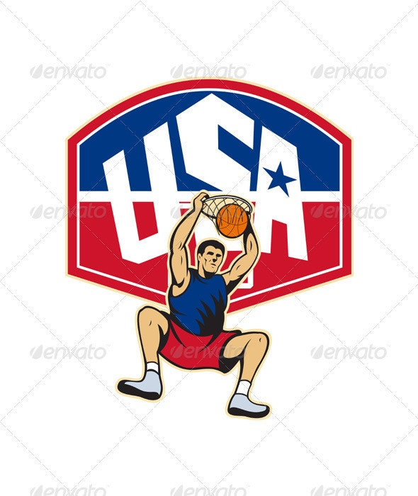Basketball Player Dunking Ball USA  - Sports/Activity Conceptual