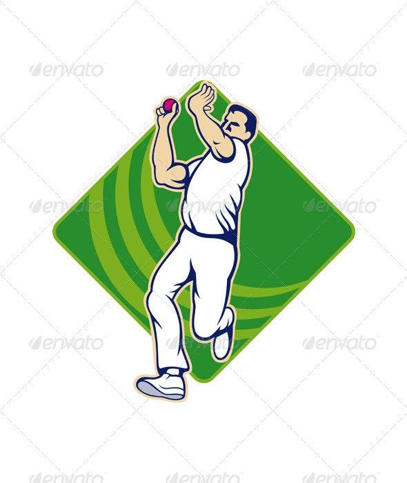 Cricket Bowler Bowling Ball Front  - Sports/Activity Conceptual