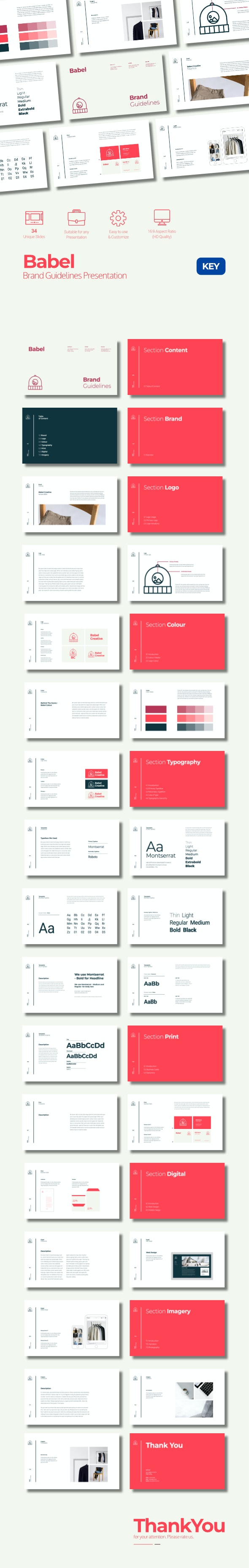 Babel - Clean Minimalism Brand Guidelines Presentation Keynote - Business Keynote Templates