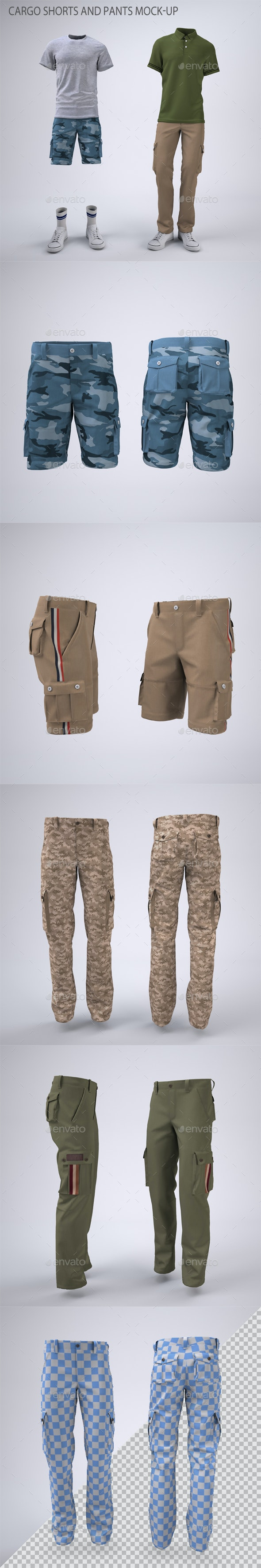 Cargo Shorts and Cargo Pants Mock-Up - Apparel Product Mock-Ups