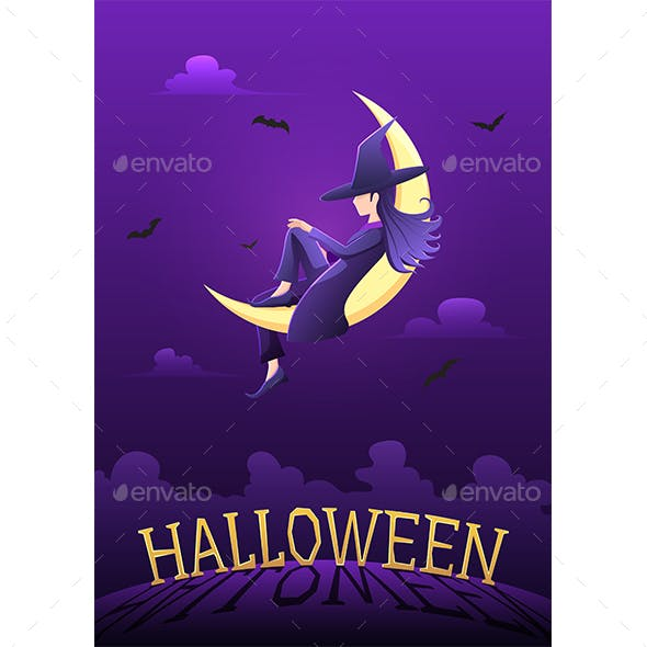 Witch Sitting on Crescent Moon in Halloween Night Above The Graveyard with Halloween Text