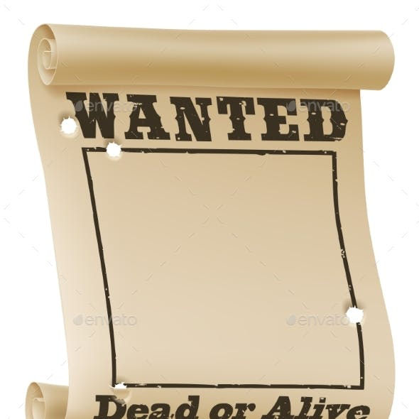 Wanted Poster Background Sign