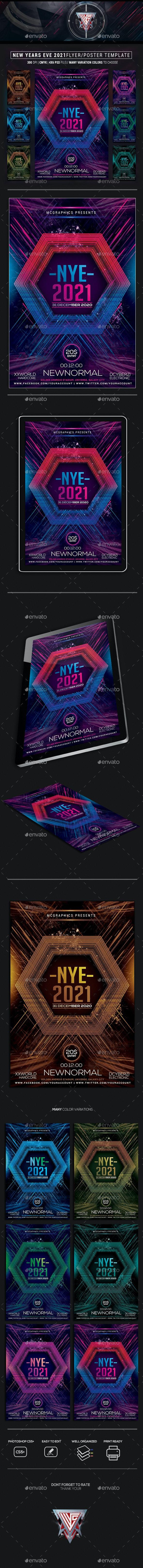 NYE 2021 Photoshop Flyer Template - Events Flyers
