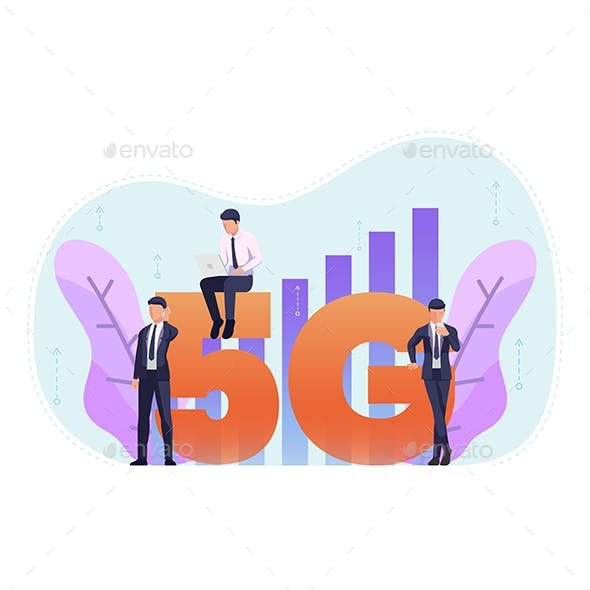 Business People Use 5G in Various Activities Like Working on Laptop or Surfing The Internet