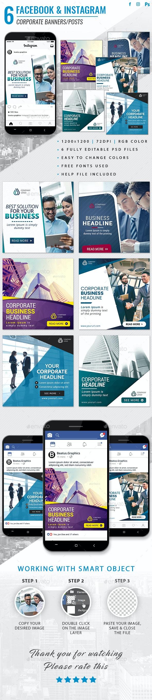 Facebook & Instagram Corporate Posts - Social Media Web Elements